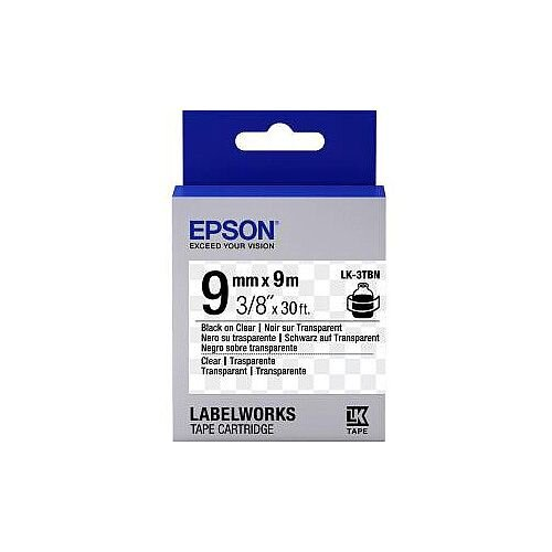 Epson Label Tape 9mm Width x 9m Length Clear C53S653004