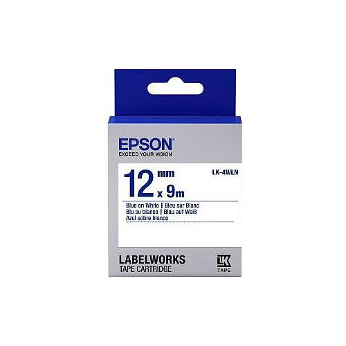 Epson LabelWorks LK-4WLN Label Tape 12mm Width x 9m Length Thermal Transfer White C53S654022