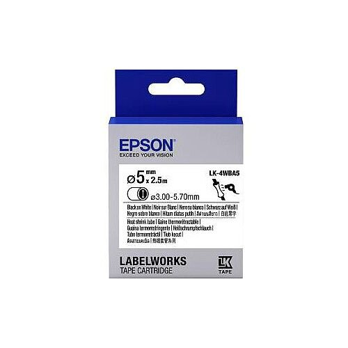 Epson LabelWorks LK-4WBA5 Wire &Cable Label Thermal Transfer White C53S654904