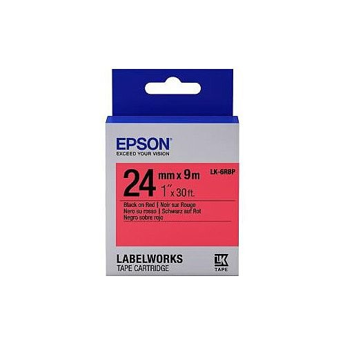 Epson LabelWorks LK-6RBP Label Tape 24mm Width x 9m Length Thermal Transfer Pastel Red C53S656004