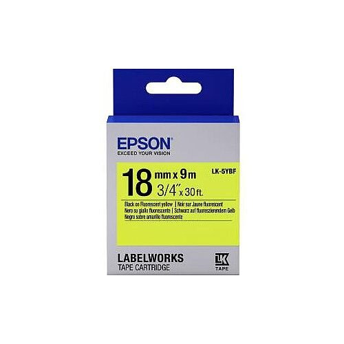 Epson LabelWorks LK-5YBF Label Tape 18mm Width x 9m Length Thermal Transfer Fluorescent Yellow C53S655004