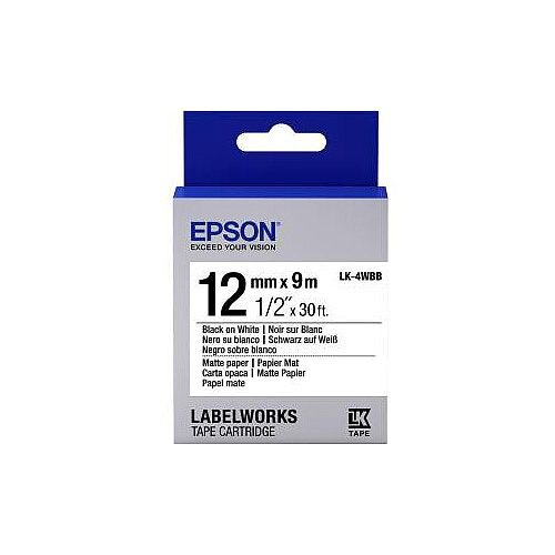 Epson LabelWorks LK-4WBB Label Tape 12mm Width x 9m Length Thermal Transfer White Paper C53S654023
