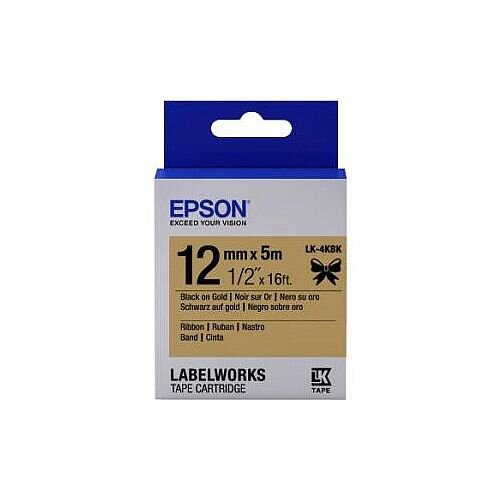 Epson LabelWorks Label Tape 12mm Width x 5m Length Thermal Transfer Gold 1 Roll C53S654001