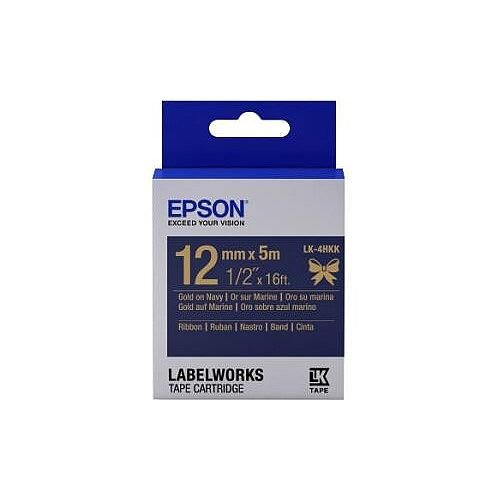 Epson Label Tape 12mm Width x 5m Length Rectangle Navy 1 Roll C53S654002