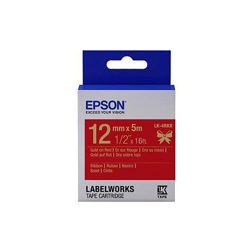 Epson LabelWorks Label Tape 12mm Width x 5m Length Rectangle Red C53S654033