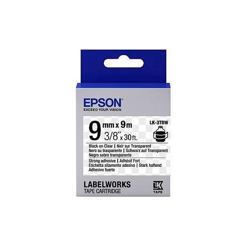 Epson LabelWorks LK-3TBW Label Tape 9mm Width x 9m Length Thermal Transfer Clear C53S653006