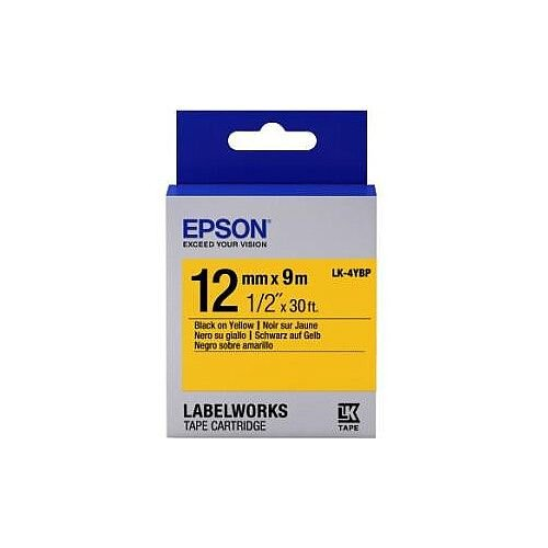 Epson LabelWorks LK-4YBP Label Tape 12mm Width x 9m Length Thermal Transfer Pastel Yellow C53S654008
