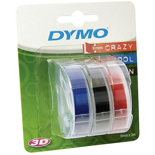 Dymo S0847750 Label Tape 9 mm Width x 3 m Length Rectangle Black, Red, Blue Plastic 3 Rolls