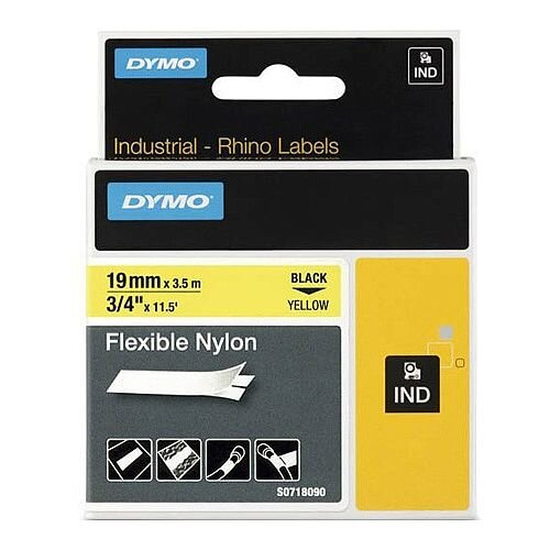 Dymo RhinoPRO Label Tape 19.05 mm Width x 3.51 m Length Direct Thermal Yellow Nylon