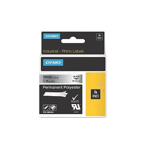 Dymo 1805434 ID Label Permanent Adhesive 24 mm Width x 5.50 m Length Thermal Transfer Metallic on Black Polyester
