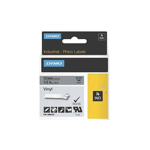 Dymo 1805413 Color Coded Label Permanent Adhesive 12.70 mm Width x 5.50 m Length Thermal Transfer Grey Vinyl