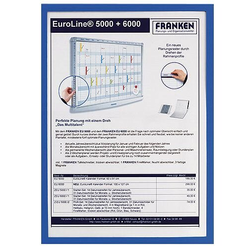 Franken Magnetic Document Holder ValueLine A3 Blue ITSA3M 03