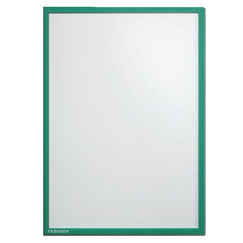 Franken Magnetic Document Holder ValueLine Transparent, Matt Finish, Standout A4 Green Border, Easy Display For Offices &Public Areas