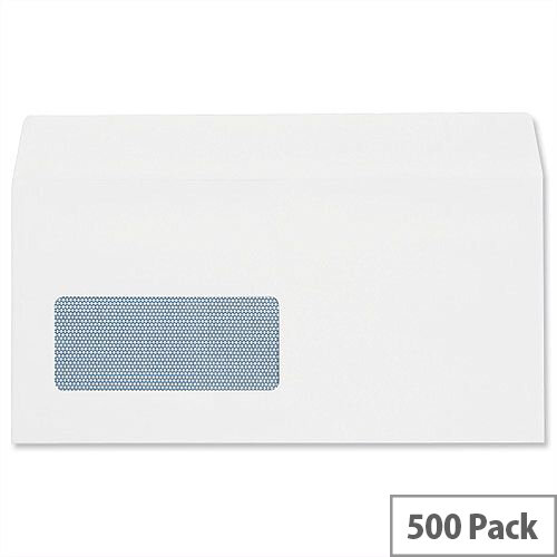 Plus Fabric DL Window Envelopes White Wallet Self Seal 110gsm Pack of 500