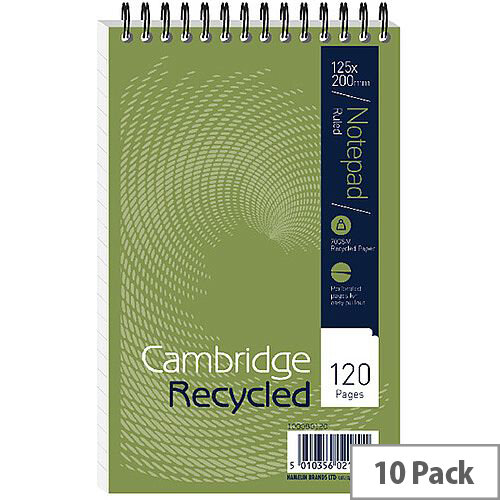 Cambridge Recycled Reporters Notebook Ruled with Margin 120 Pages 100080120