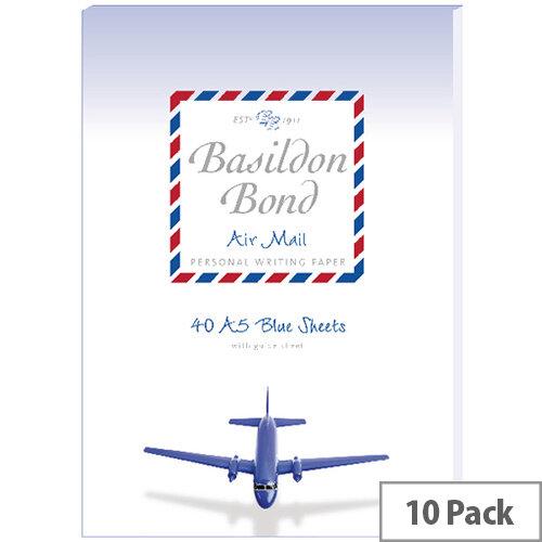Basildon Bond Blue Airmail Writing Pad 148 X 210mm Pack of 10 100104698