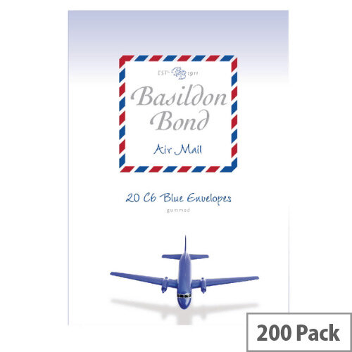 Basildon C6 Bond Blue Airmail Envelopes (Pack of 200)