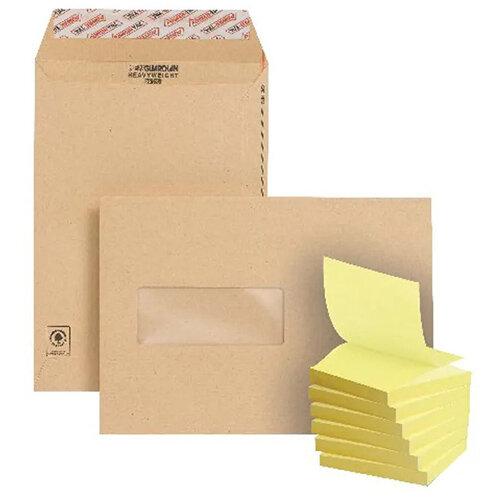 New Guardian C5 Window Envelope Manilla (Pack of 250) FOC Post-it Notes Yellow Pk6 JDF814005
