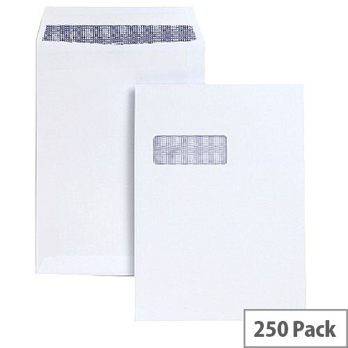 Q-Connect  C4 Window White Envelopes Pocket Press Seal 90gsm (Pack of 250)