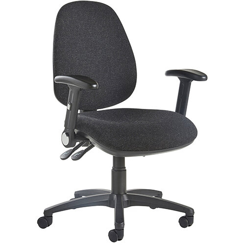 Jota high back operator chair with folding arms - charcoal