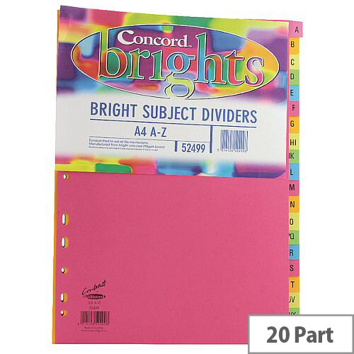 Concord Bright Subject Divider A4 A-Z Assorted Pack of 10