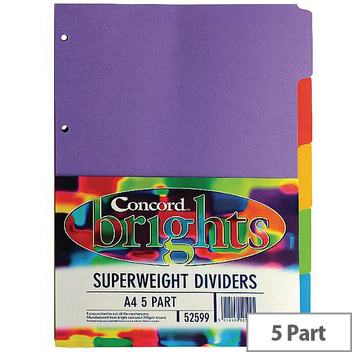 Concord Bright A4 Divider Heavy-weight 5-Part Assorted 52599/525