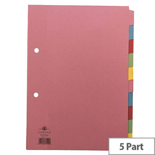 Concord Pastel A4 5-Part Subject Divider Pack of 5 71190