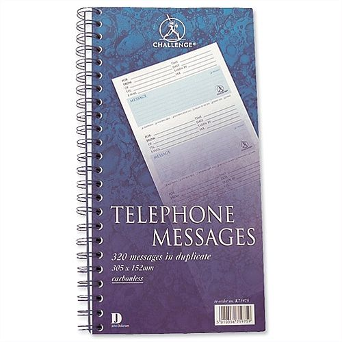 Telephone Message Book Wirebound Duplicate 320 Messages 305x152mm Challenge