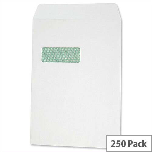 Basildon Bond C4 Window 100gsm Envelopes White Pocket Peel and Seal (Pack of 250)