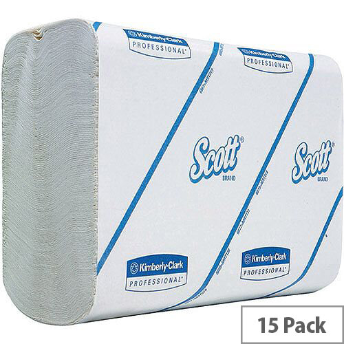 Kimberly Clark Scott Performance Paper Hand Towels Interfolded 1-Ply White 300 Towels Per Sleeve 15 Sleeves (4500 Sheets) 6659