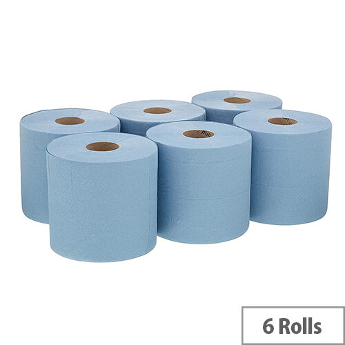 Kimberly-Clark Wypall L20 Tissues Refill Paper Rolls Control Centre Feed Blue Rolls Pack 6 7342