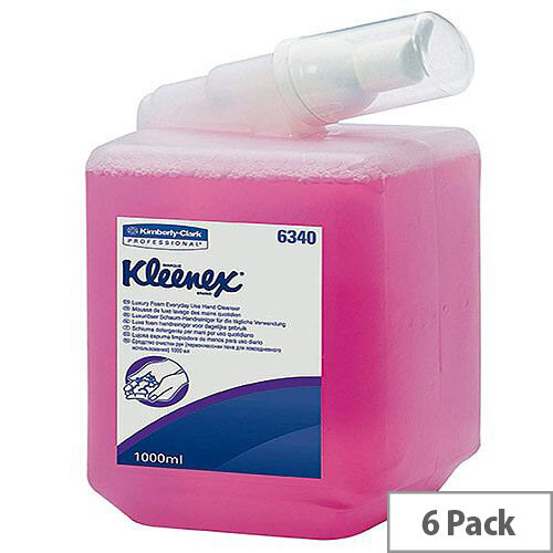 Kleenex Luxury Hand Wash Foam Soap Dispensers Refill 1L Cartridges Pink (Pack 6) 6340