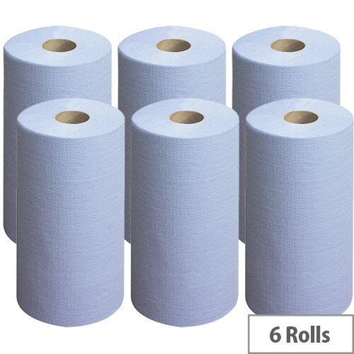 Wypall L20 Wipers Small Couch Roll Blue 140 Sheets Pack of 6 7414