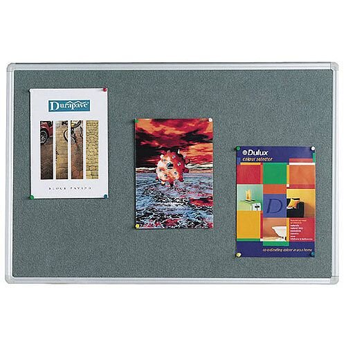 Q Connect Notice Board 900 x 600mm Aluminium Frame Grey