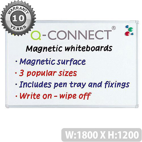 Q-Connect Aluminium Magnetic Whiteboard 1800x1200mm