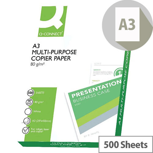 Q-Connect Copier Paper A3 80gsm White Ream of 500 Sheets