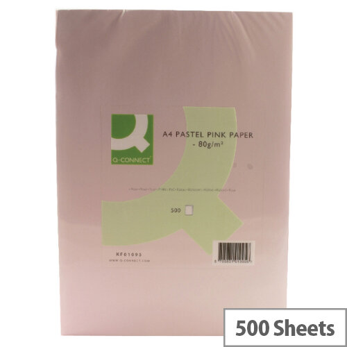 Q-Connect Pink A4 Paper 80gsm Ream of 500 Sheets