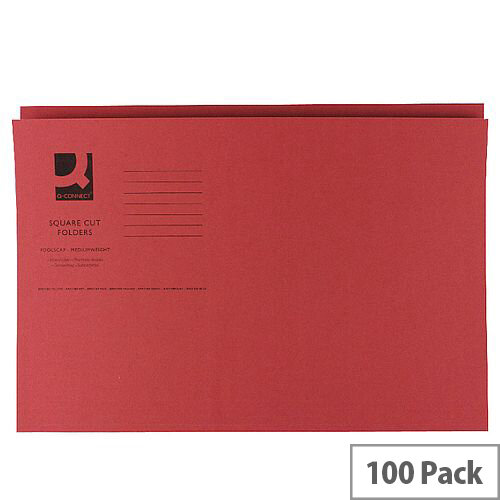 Q-Connect Red Square Cut Folder Medium Weight 250gsm Foolscap Pack of 100