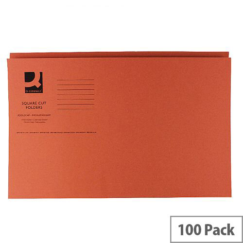 Q-Connect Orange Square Cut Folder Medium Weight 250gsm Foolscap Pack of 100