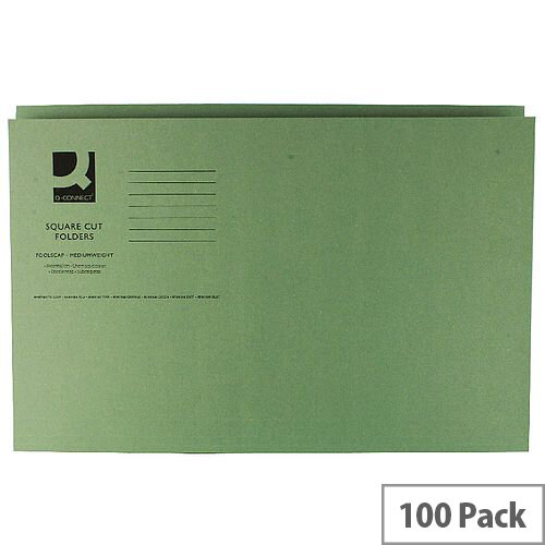 Q-Connect Green Square Cut Folder Medium Weight 250gsm Foolscap Pack of 100