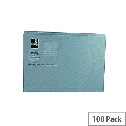 Q-Connect Blue Square Cut Folder Medium Weight 250gsm Foolscap Pack of 100