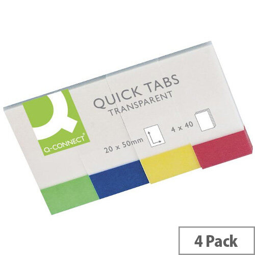 Q-Connect Quick Tabs 20x50mm Transparent 4 Pads of 40 KF01225