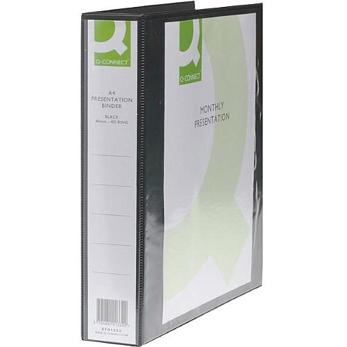 Q-Connect Presentation 4D-Ring Binder 40mm A4 Black