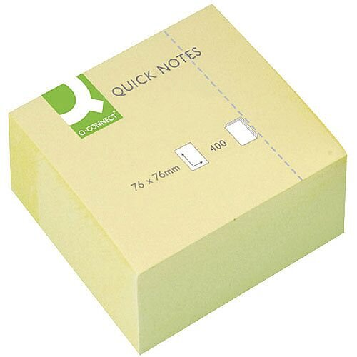 Q Connect Quick Note Cube 76x76mm 400 Sheets Yellow KF01346