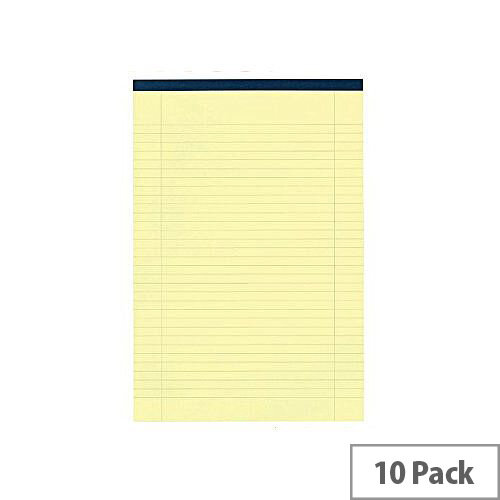 Yellow Legal A4 Pad Perforated Red Margin 50 Pages Pack 10 Q-Connect