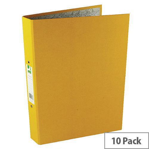 Q Connect 2-Ring Binder A4 25mm Paper-Backed Yellow 10 Pack