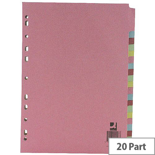 20-Part Subject Divider A4 Multipunched Assorted Colours Q-Connect KF01517