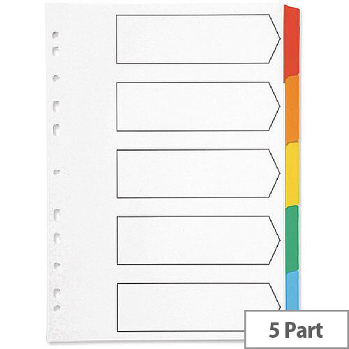 Index A4 Multi-Punched 5-Part Reinforced Multi-Colour Blank Tabs Q-Connect – Eco-Friendly, Labelling, Referencing, Works With A4, Mylar-Coated & Durable (KF01525)