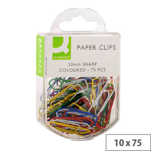 Q-Connect Paperclip 32mm Coloured Pack of 75 x 10 KF02023Q