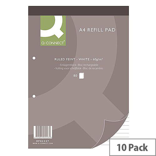 Refill Pad A4 Ruled Feint Punched 2-Hole Head Bound 80 Leaf 10 Pack Q-Connect